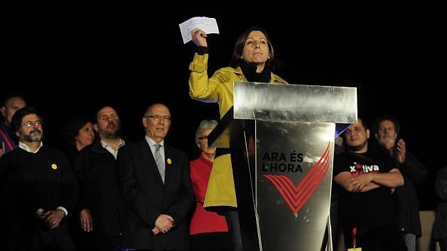 Carmen Forcadell, durante el acto de cierre de la campaña del simulacro del 9-N