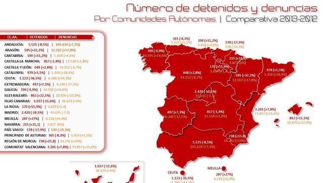 Distribución geográfica de los detenidos