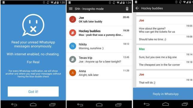 Shh, una «app» para burlar el doble check azul de WhatsApp