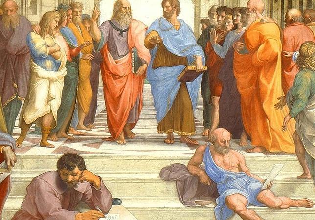 Escuela de Atenas, según el pintor renacentista Rafael Sanzio