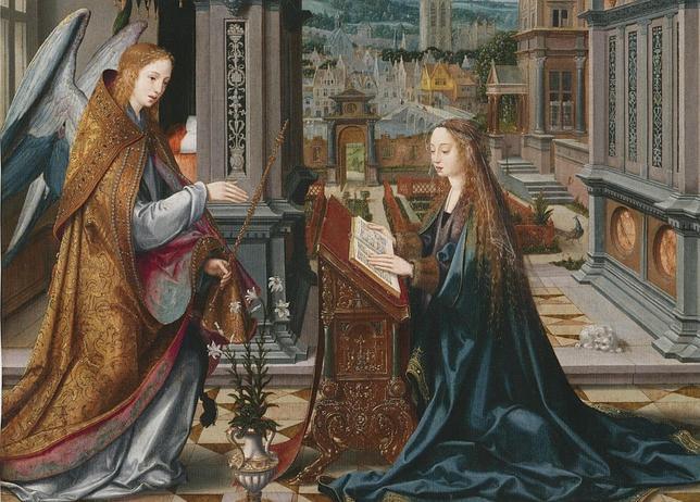 Fragmento de la tabla central del «Tríptico de la Anunciación», de Joos van Cleve
