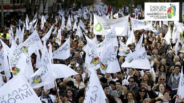 Vista general de los participantes en la manifestación celebrada hoy en Madrid