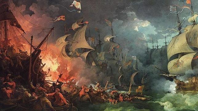 Derrota de la Armada Invencible, pintura de Philippe-Jacques de Loutherbourg