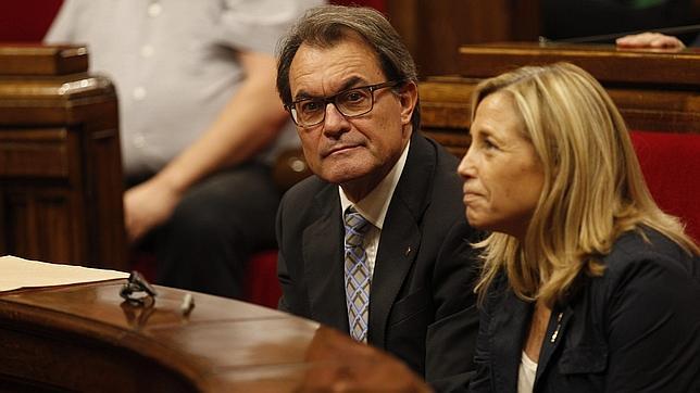 El presidente Mas, junto a la vicepresidenta Joana Ortega