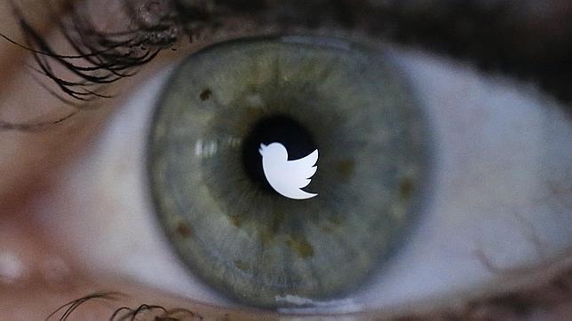 El logo de Twitter reflejado en el ojo de una persona