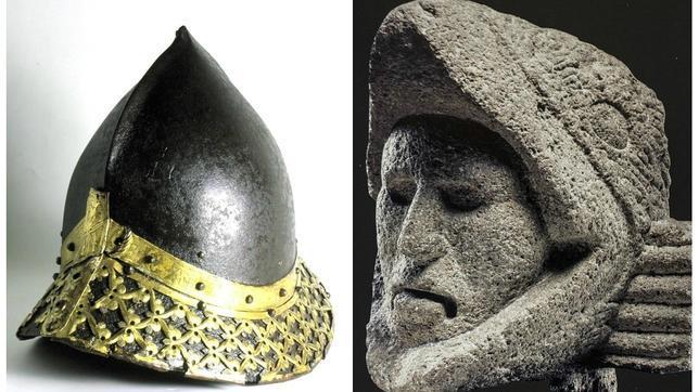 Yelmo de noble, a la izquierda, y escultura Guerrero Águila son dos de las piezas que se pueden ver en la exposición en El Canal