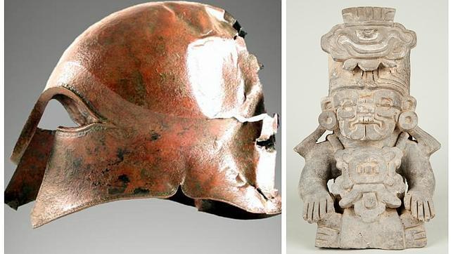 Casco corintio y urna antropomórfica que se podrán contemplar en la muestra en El Canal
