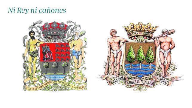 En 1979, el Parlamento foral de Guipúzcoa decidió eliminar de su escudo oficial los doce cañones que Castilla, con la ayuda de milicias guipuzcoanas, requisó a las tropas navarras que combatían junto a Francia. La figura del Rey, del blasón original, también fue borrada. Como se aprecia en la imagen de la derecha, el escudo ha quedado reducido a tres tejos (árboles) sobre mar. Los expertos discuten el nulo anclaje con la Historia del nuevo emblema, que entró en vigor desde 1990.