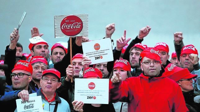 Protesta de trabajadores de Coca-Cola Iberian Partners el pasado enero