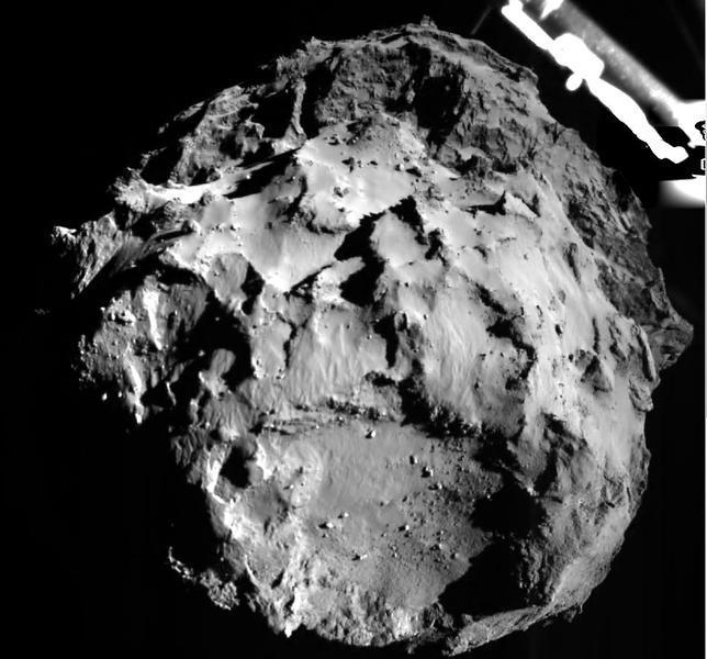 El módulo Philae captó esta imagen del cometa durante su aproximación