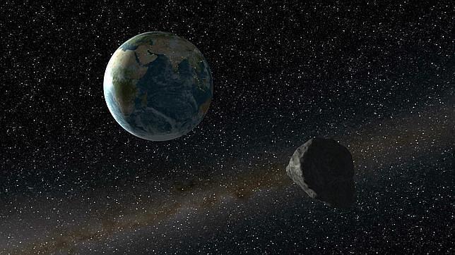 Recreación de un asteroide aproximándose a la Tierra