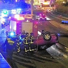 Espectacular accidente a la entrada del túnel de Costa Rica en Madrid - ABC.es