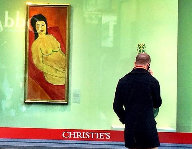 Imagen del escaparate de Christie's con el cuadro pintado por Dylan