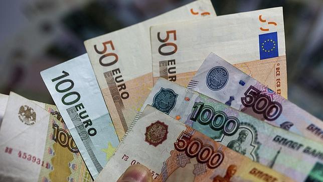 Rublos rusos y euros