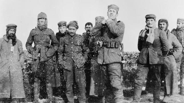 Fotografía de los soldados durante la tregua (1914).