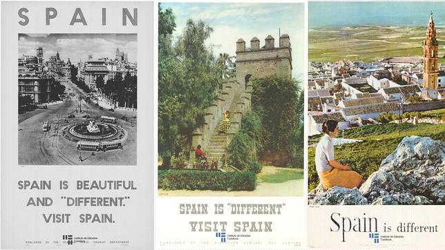 Varios de los carteles usados durante la campaña que popularizó el eslogan «Spain is different»