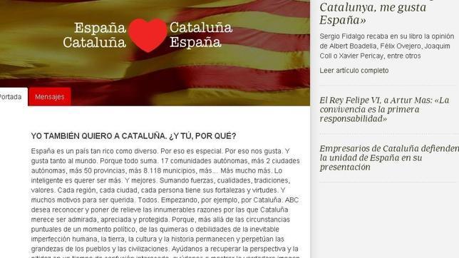 Esta es la página web donde puedes expresar tus sentimientos de admiración y amor por Cataluña