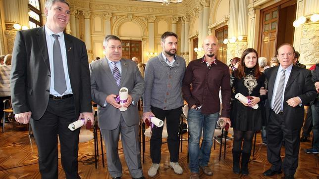 Los premiados durante el acto en la Casa de Valladolid en Madrid