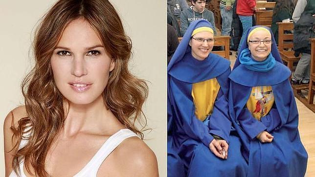 Olalla Oliveros durante su época como actriz y modelo (izda) y como «monja» de los «miguelianos» (dcha)