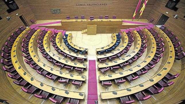 Vista del Hemiciclo de las Cortes Valencianas, vacío, en una imagen de archivo
