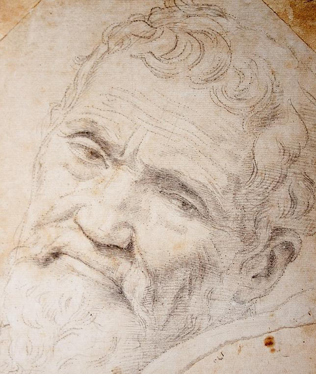 Un anciano Miguel Ángel, retratado por Daniele da Volterra en este soberbio dibujo