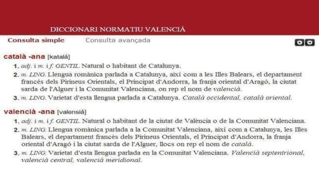 Imagen de la definición de valenciano de la AVL que rechaza la Generalitat