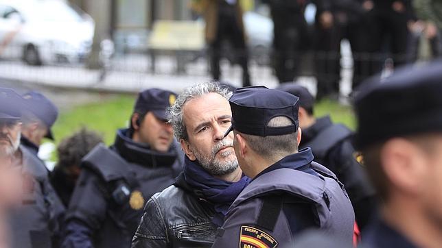 El actor en una reciente manifestación en la que grabó a varios policías como acto de reivindicación