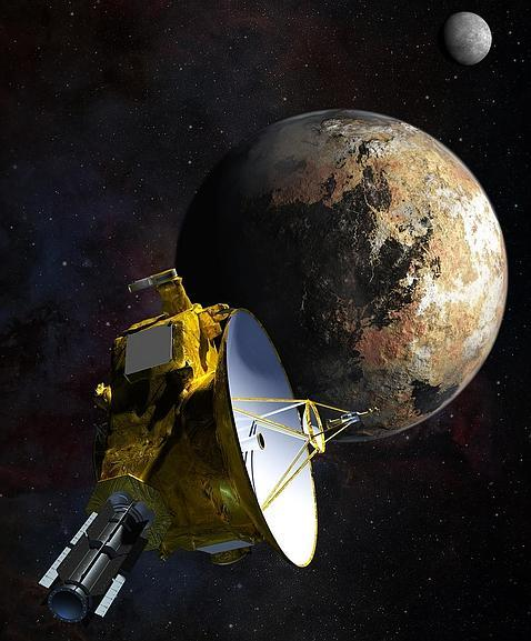 Ilustración de la New Horizons a su paso por Plutón