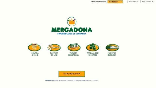 Captura de la página web de Mercadona