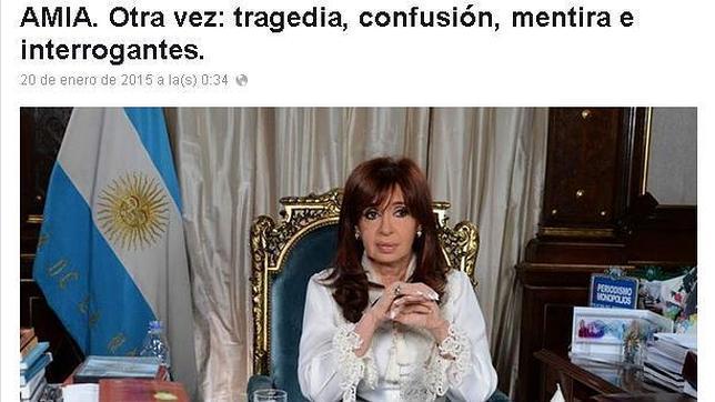 Captura de la carta donde Cristina Fernández de Kirchner se ha referido a la muerte del fiscal