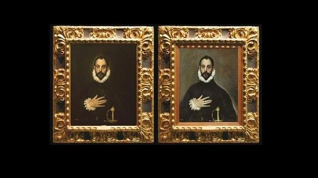 El «Caballero de la mano en el pecho», antes y después. ABC