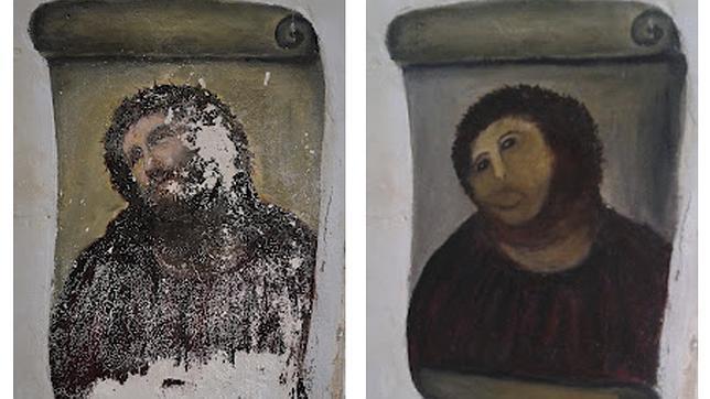 El Ecce homo, antes y después de su repinte. REUTERS
