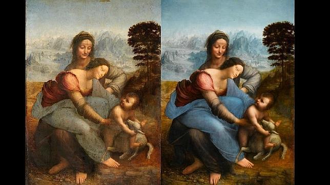El lienzo conservado en el Museo del Louvre, antes y después de la restauración. ABC