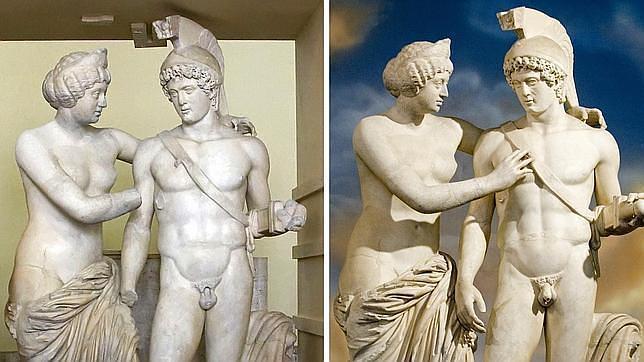 La escultura, antes y después de la restauración. EFE