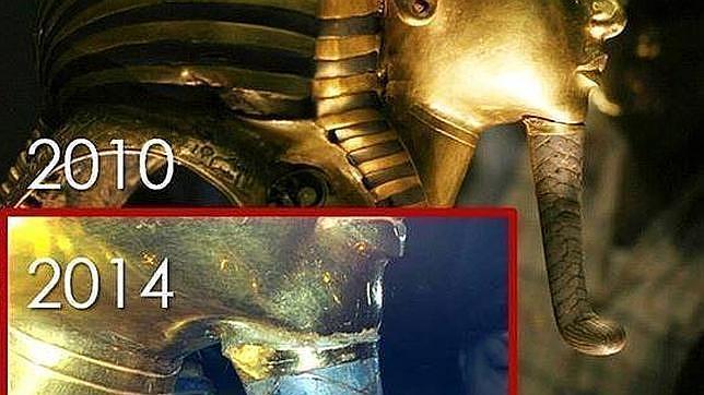 Montaje del antes y después de la resina aplicada indebidamente a la barba rota de la máscara de oro