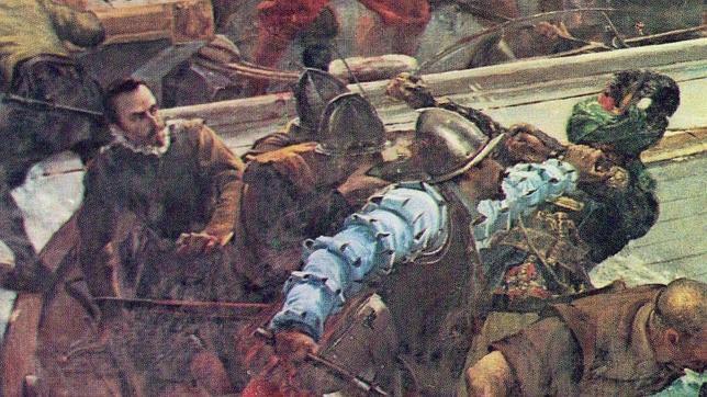 Ilustración que muestra a Miguel de Cervantes combatiendo en Lepanto