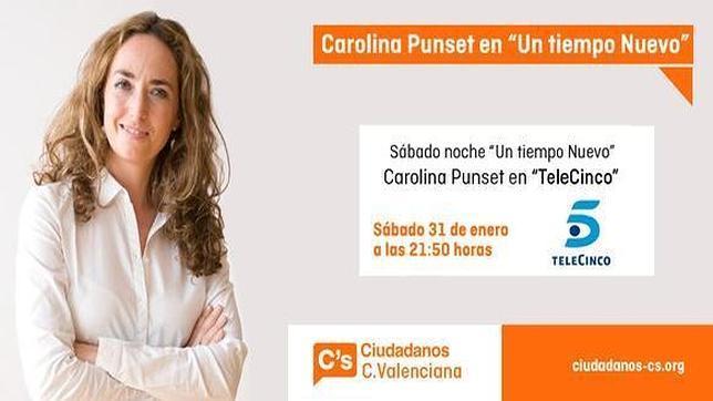 Cartel promocional de la entrevista a Carolina Punset