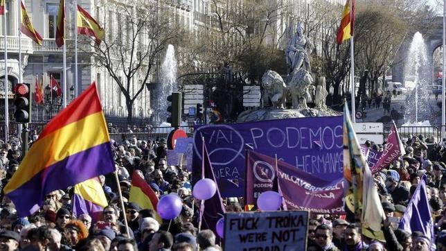 Una imagen de la manifestación convocada por Podemos