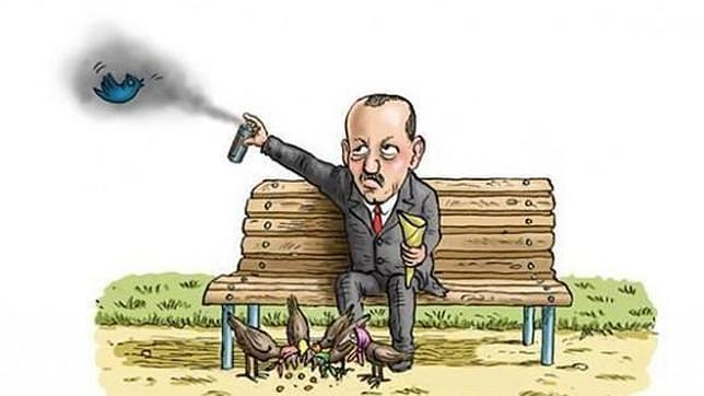 Caricatura de Erdogan «gaseando» al pájaro símbolo de Twitter
