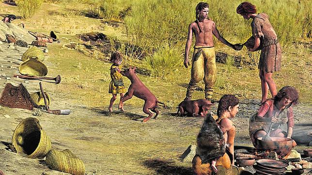 Imagen de una exposición sobre Madrid hace 5.000 años en la que aparecen unos perros domésticos