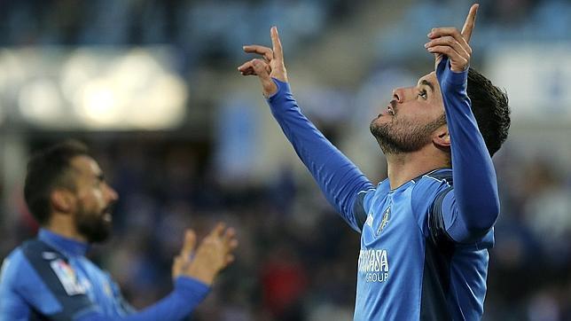 Pedro León celebra el gol de la victoria del Getafe frente al Sevilla
