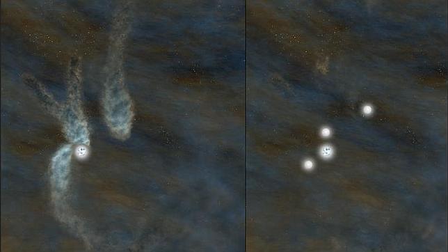 Observan por primera vez la formación de un sistema con cuatro soles
