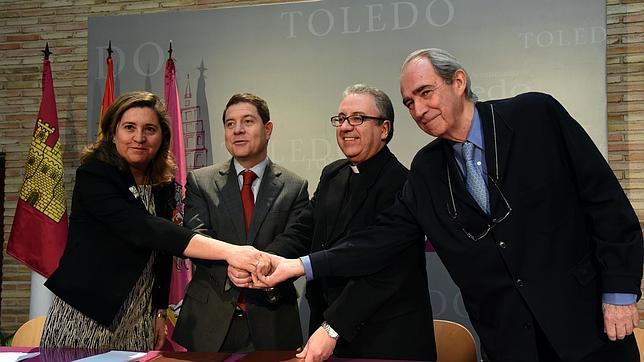 La concejal de Cultura, el alcalde, el párroco de Santas Justa y Rufina y el presidente del Consorcio