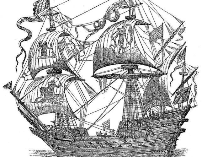 Un galeón español, en un grabado del siglo XVI, la era de la exploración global