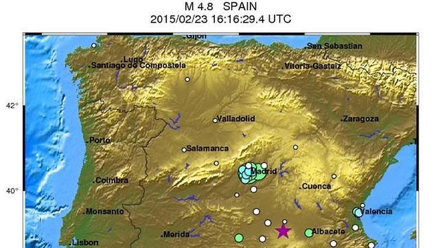 Gráfico del terremoto sentido esta tarde en el centro de la Península