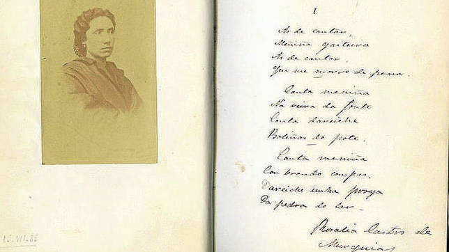 Rosalía de Castro en una fotografía inédita hasta hace dos años junto a versos manuscritos