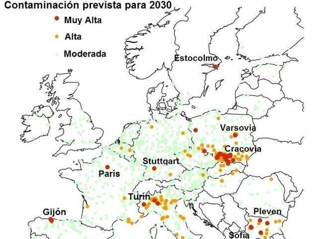Mapa de la contaminación estimada en 2030