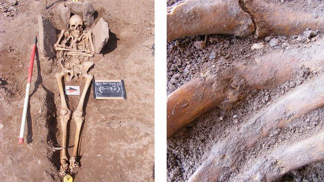 Los restos del caballero excavados en Hereford