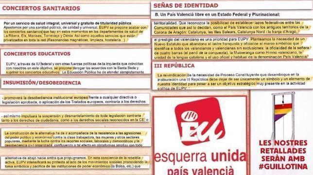 Imagen de los postulados de Esquerra Unida en materia de señas de identidad