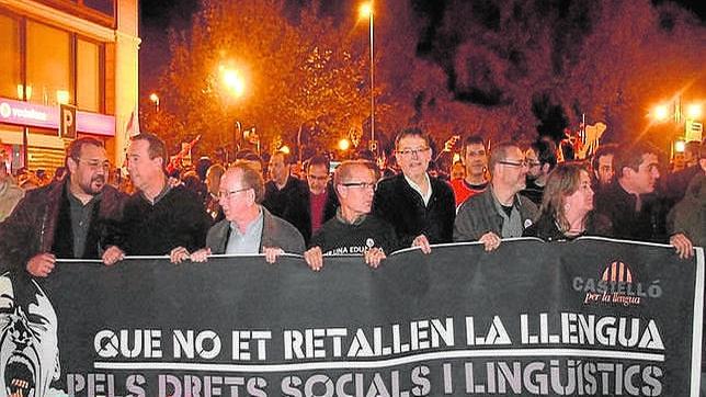Imagen de archivo de Ximo Puig en una manifestación junto a dirigentes de ERC